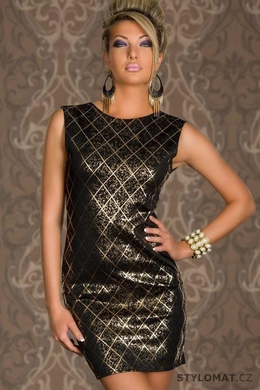 Elegantní černé minišaty se zlatým potiskem - Damson - Krátké společenské  šaty 19185f77d0