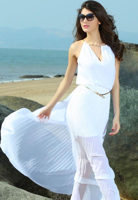 dde669832e8 Dámské elegantní dlouhé bílé letní šaty - Damson - Dlouhé letní šaty