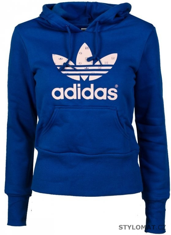 Dámská modro bílá mikina adidas Originals TREFOIL HOODIE - Adidas - Mikiny 484824ac34