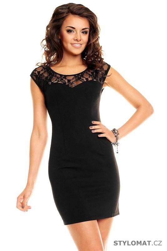 0e65765bede Dámské černé elegantní šaty s krajkou - Queen O.F. - Krátké společenské šaty