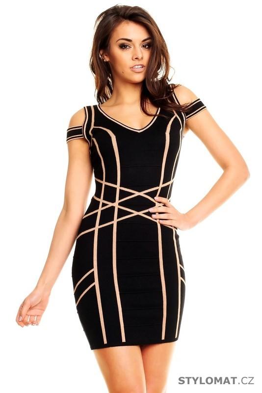 ccf4cbb9f7f Dámské elegantní černé šaty s optickým vzorem - Best Emilie - Krátké  společenské šaty