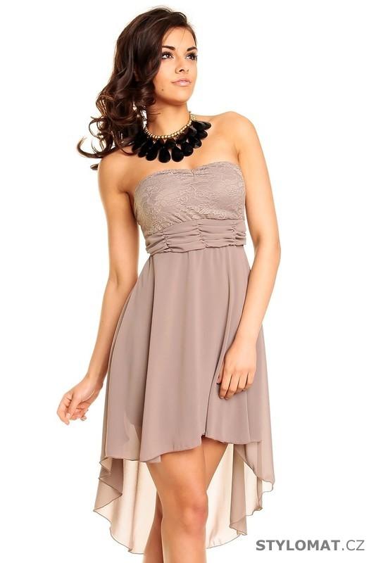 a43f32cae82 Dámské béžové krajkové koktejlové šaty - Best Emilie - Krátké společenské  šaty