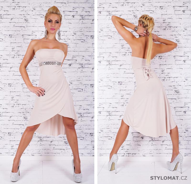 Dámské elegantní béžové šaty bez ramínek - Queen O.F. - Krátké společenské  šaty f3884b03cf