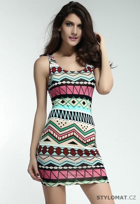 Dámské trendy barevné šaty s aztéckým vzorem - Damson - Party a koktejlové  šaty 56de6cfcc9