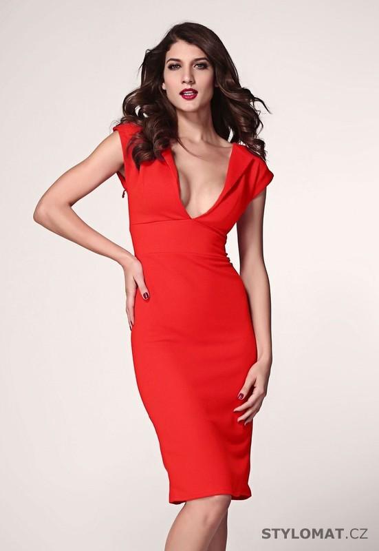 Dámské elegantní červené pouzdrové šaty - Damson - Party a koktejlové šaty f76bda6a43