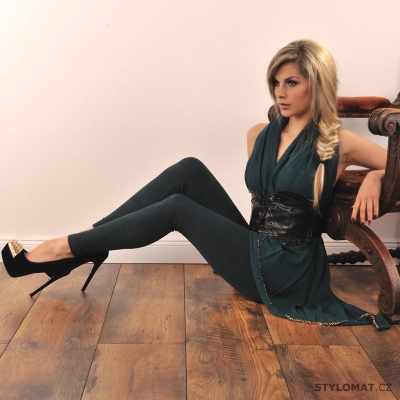 Trendy zimní tmavě zelené legíny - Fashion - Legíny 4f31f73f4a