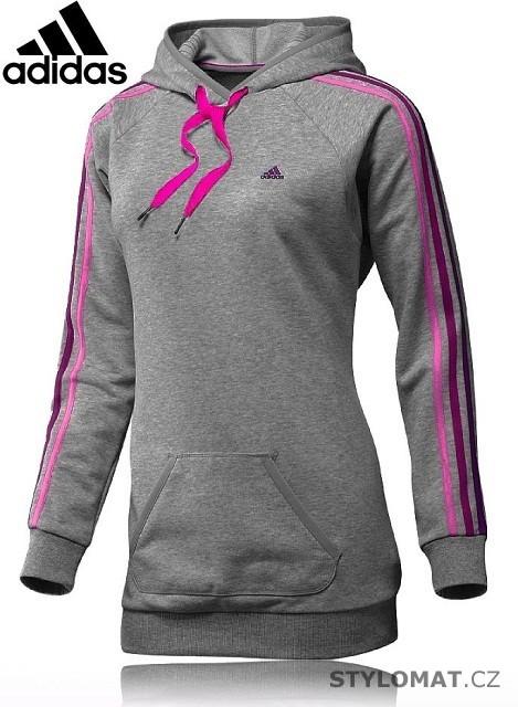89e5348bf76 Dámská prodloužená šedo růžová mikina adidas Essentials 3 Stripe Long Hoodie  - Redial - Mikiny