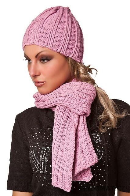 Dámský set růžová čepice+šála s kamínky - Redial - Dámské čepice a čelenky b751d4ab74