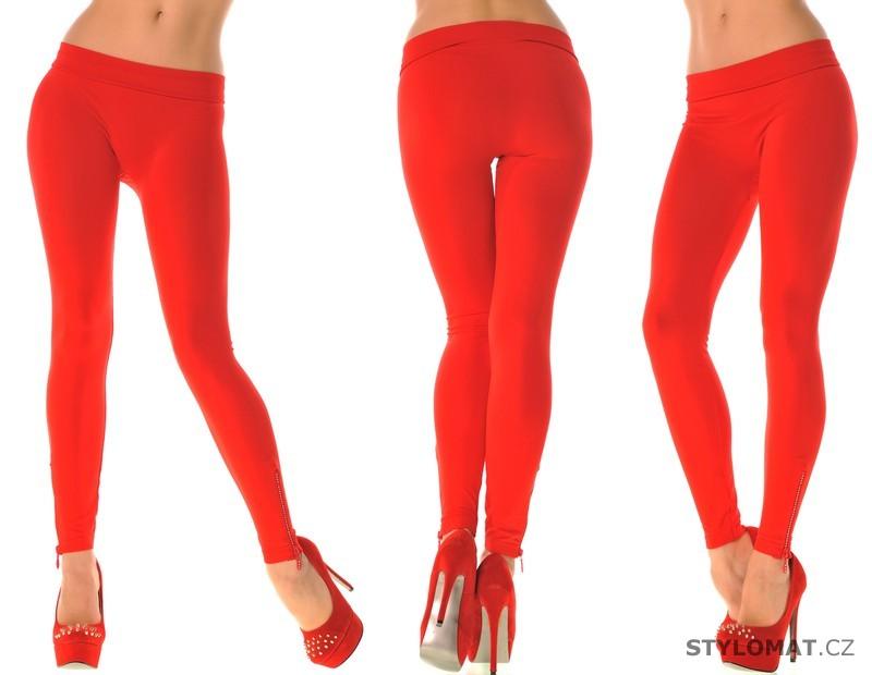 1a3da16d539 Módní červené legíny se zipy - Fashion - Legíny