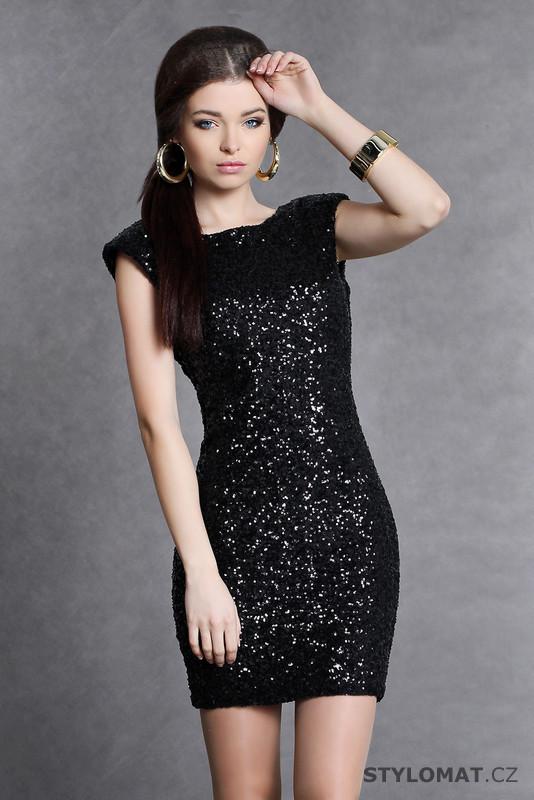 Trendy černé flitrové šaty - Soky Soka - Party a koktejlové šaty 554ff3c3ec0