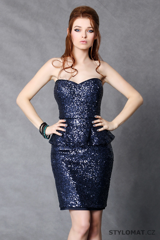6ec3cc6f907 Módní tmavě modré flitrové koktejlky - Pink BOOm - Party a koktejlové šaty