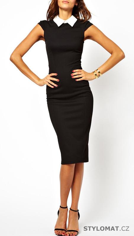Dámské černé klasické šaty s límečkem - EU - Krátké společenské šaty 17006fc92c
