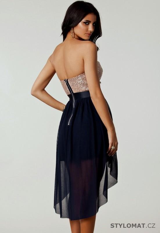 Dámské černo-pudrové společenské šaty s asymetrickou sukní - Damson -  Krátké společenské šaty 86ec8458bd