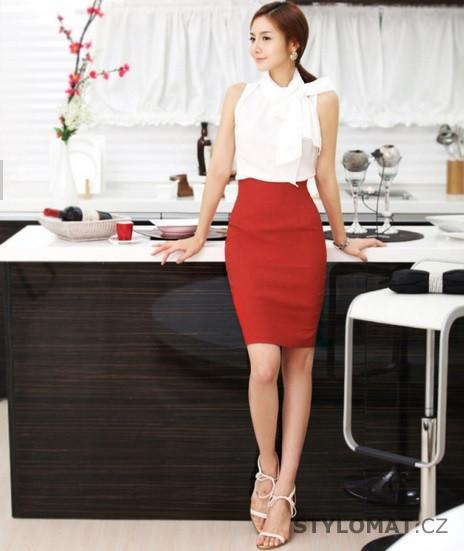 Elegantní červená pouzdrová sukně - Stylomat.cz - Sukně 65b941077d