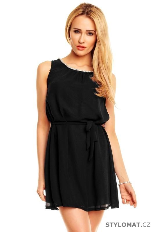 ff38b4f3039 Dámské elegantní černé šaty - Best Emilie - Krátké společenské šaty
