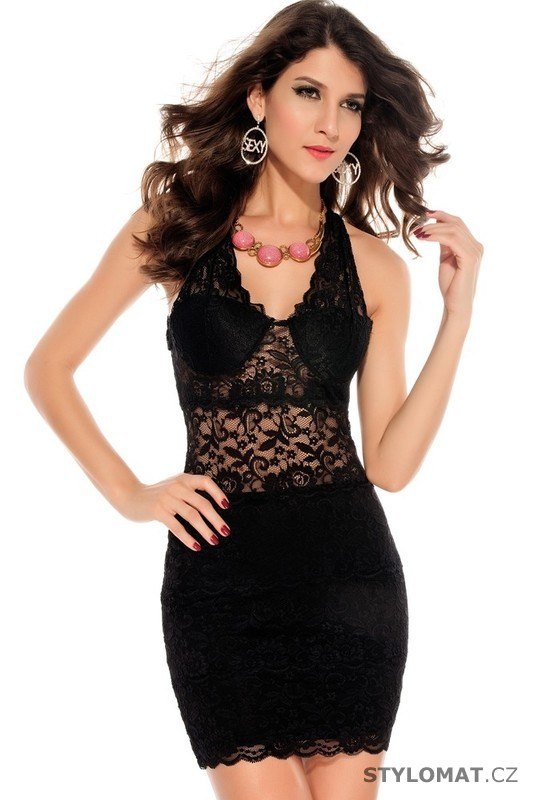 e36ba88e8c3e Dámské svůdné černé krajkové šaty - Damson - Party a koktejlové šaty