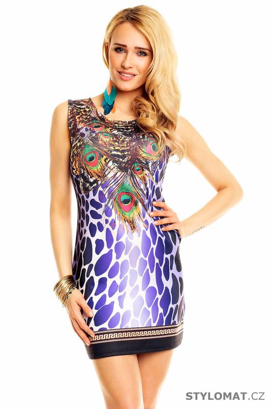 3b6d49da5b1 Dámské fialové letní šaty s pavím motivem - Best Emilie - Krátké letní šaty