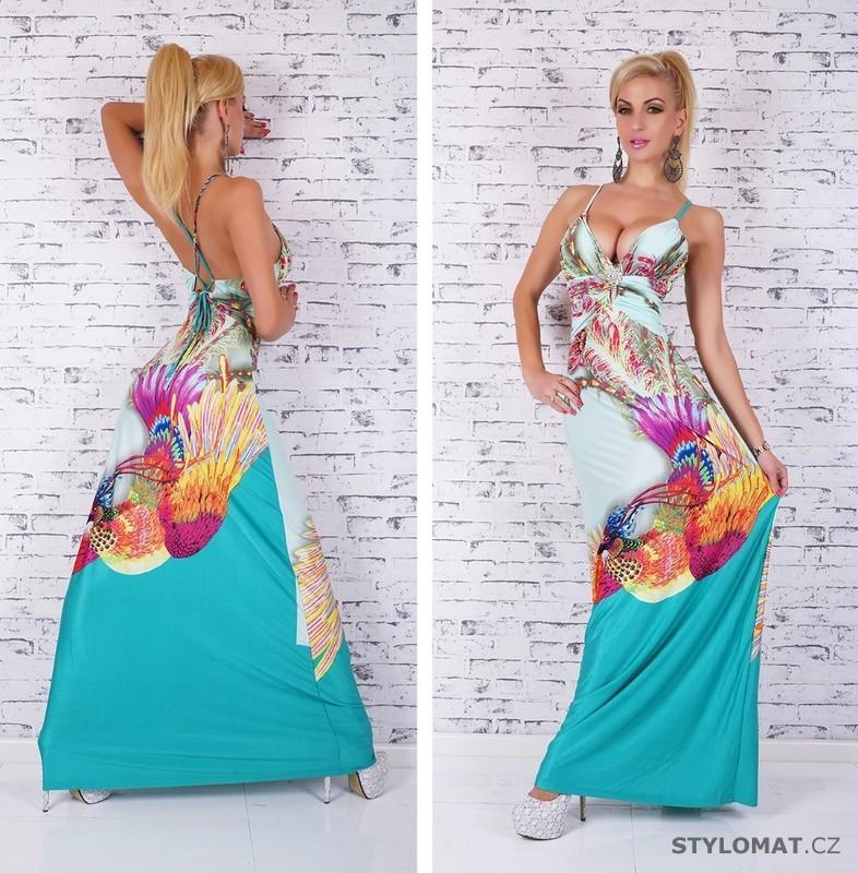 ed22755fd20 Dámské extravagantní dlouhé letní šaty - zelené - Queen O.F. ...