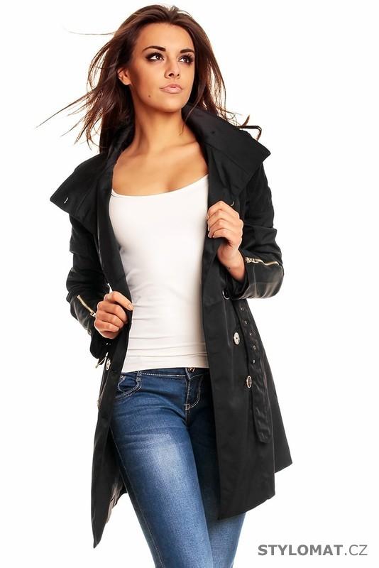 Dámský černý jarní trenčkot - Queen O.F. - Kabáty a kabátky b56cc0fe0b