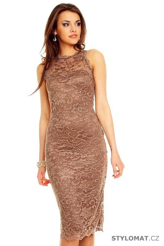 95cf307cc92 Dámské hnědé krajkové večerní šaty - Mayaadi - Party a koktejlové šaty