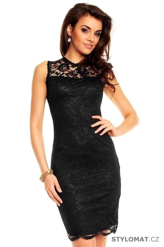 a02669860944 Dámské černé krajkové večerní šaty - Mayaadi - Krátké společenské šaty