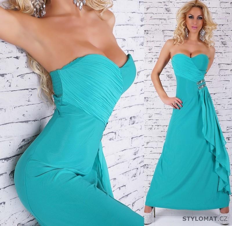Dámské elegantní tyrkysové společenské šaty - jiny - Dlouhé společenské šaty 19a2b014111