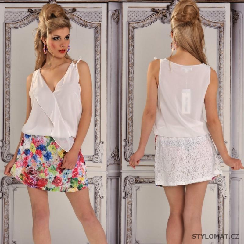 Bílé letní šaty s krajkovou sukní - Fashion - Krátké letní šaty bb5221ed4c
