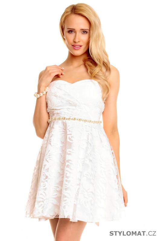 Bílé koktejlové šaty - Mayaadi - Krátké společenské šaty 5fb2269099