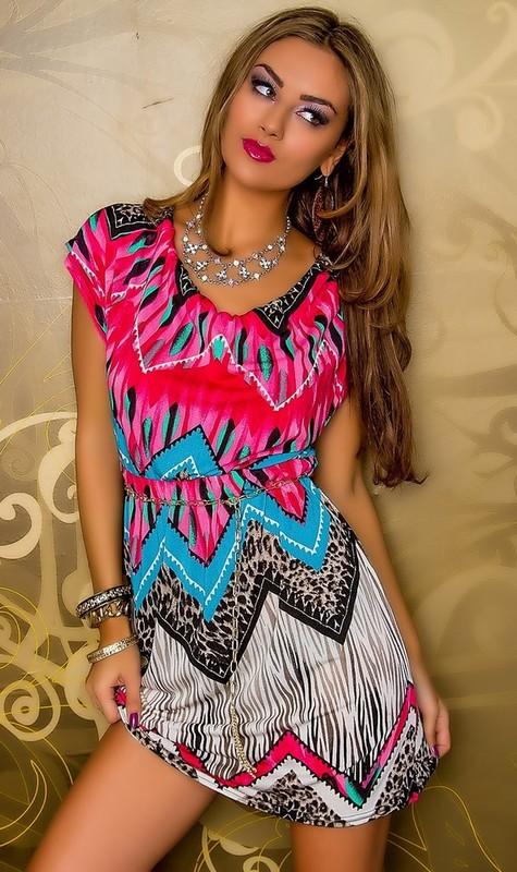 2ef42fb763b Letní šaty s páskem - Best Emilie - Krátké letní šaty