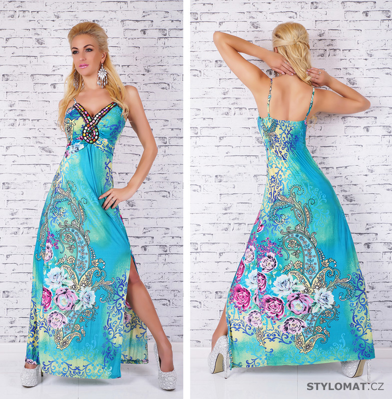 Dlouhé tyrkysové šaty - Queen O.F. - Dlouhé letní šaty cea3b8317f
