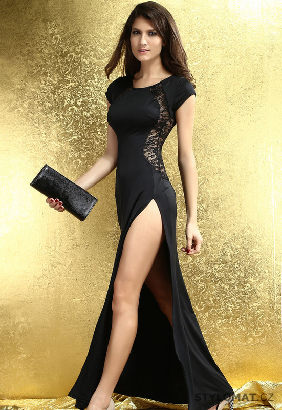 6a1d64c02cd Dámské dlouhé sexy černé šaty - Damson - Dlouhé společenské šaty
