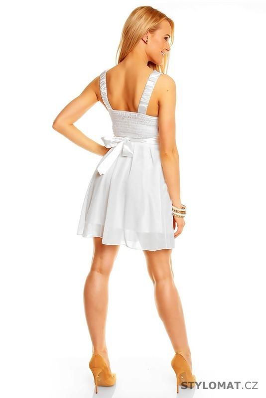 d0f98198d46 Dámské bílé vyšívané šaty - Ethina - Krátké společenské šaty