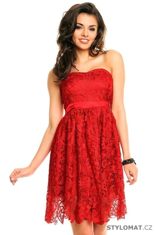 0692c2ef278 Červené krajkové koktejlky - Ethina - Krátké společenské šaty