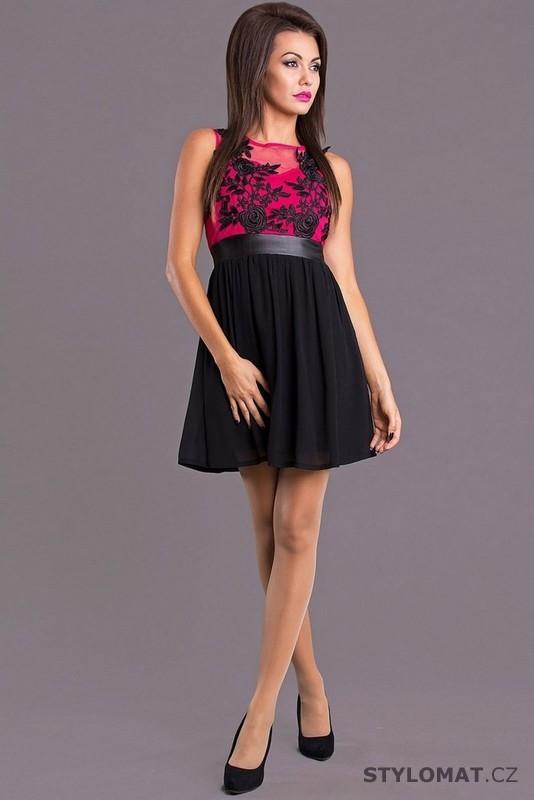 2c0cc02aca8 Černo-fuchsiové šaty do společnosti - Emamoda - Krátké společenské šaty
