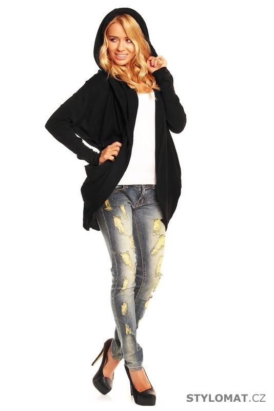 Dámský černý kardigan s kapucí - Voyelles - Kardigany 4c427a98727