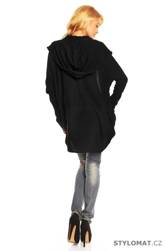 Dámský černý kardigan s kapucí - Voyelles - Kardigany 440abaeb8c