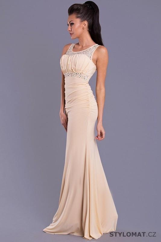 e7b67e2e864 Dámské dlouhé béžové společenské šaty - Emamoda - Dlouhé společenské šaty