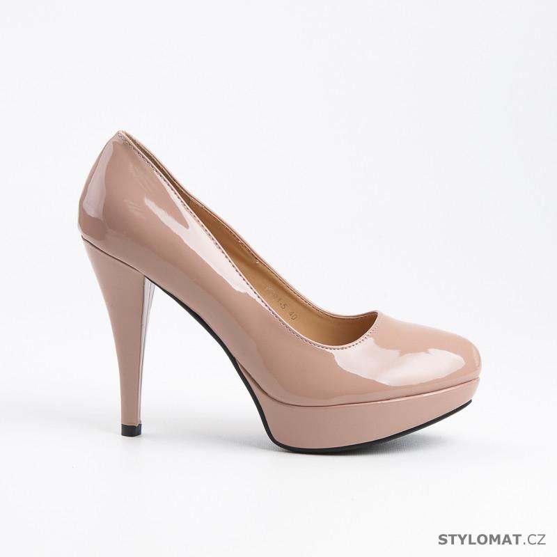 Béžové boty na podpatku - DANIC - Lodičky a59dc2b0d8