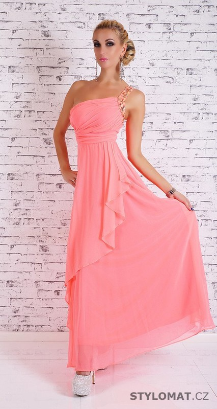 ba745946d71 Dámské dlouhé plesové šaty - lososové - EU - Dlouhé společenské šaty