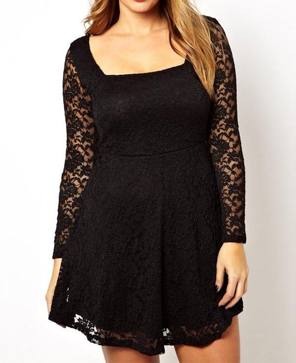 Krajkové šaty pro plnoštíhlé - černé - Damson - Party a koktejlové šaty 9e5307c17e3