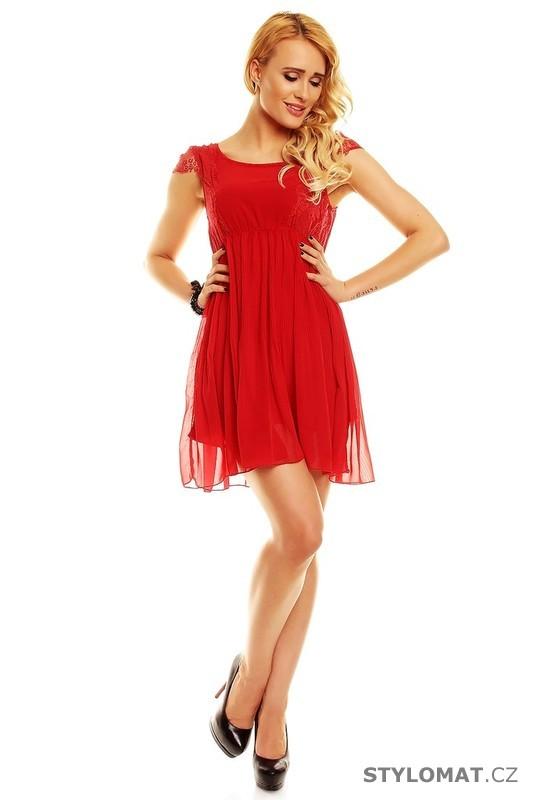 d9de14714ab Módní červené koktejlové šaty - Voyelles - Krátké společenské šaty