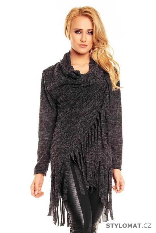 Dámský černý zavinovací svetr - EU - Kardigany 7d88f6d037