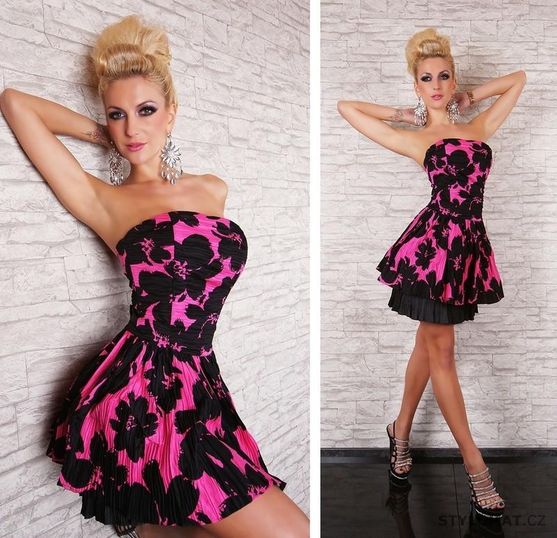 e3f453516af Krásné růžovo-černé šaty - EU - Krátké společenské šaty