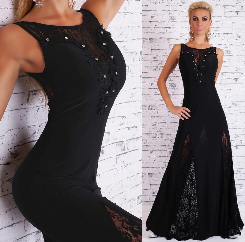 Dlouhé večerní šaty - černé - EU - Dlouhé společenské šaty c578dc4eed