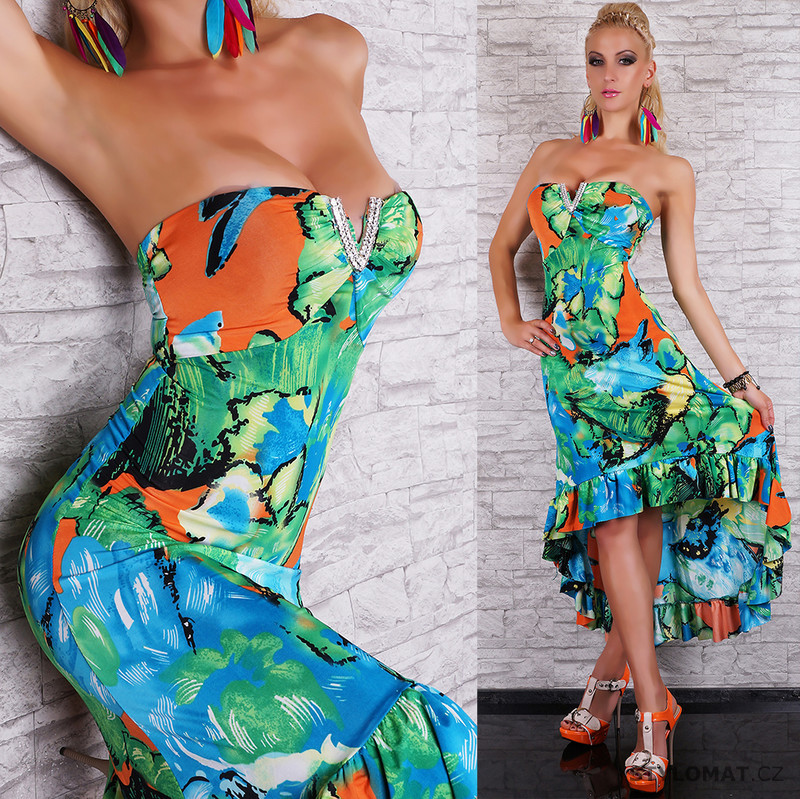 5d1d99d92c3 Delší tyrkysové šaty s květy - EU - Dlouhé letní šaty