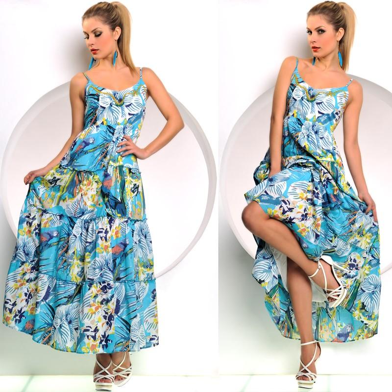 Modré dlouhé letní šatičky s papoušky - Fashion - Dlouhé letní šaty 948f2328a6