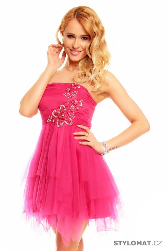 a2a4b9efb2e Růžové plesové šaty - Ethina - Krátké společenské šaty