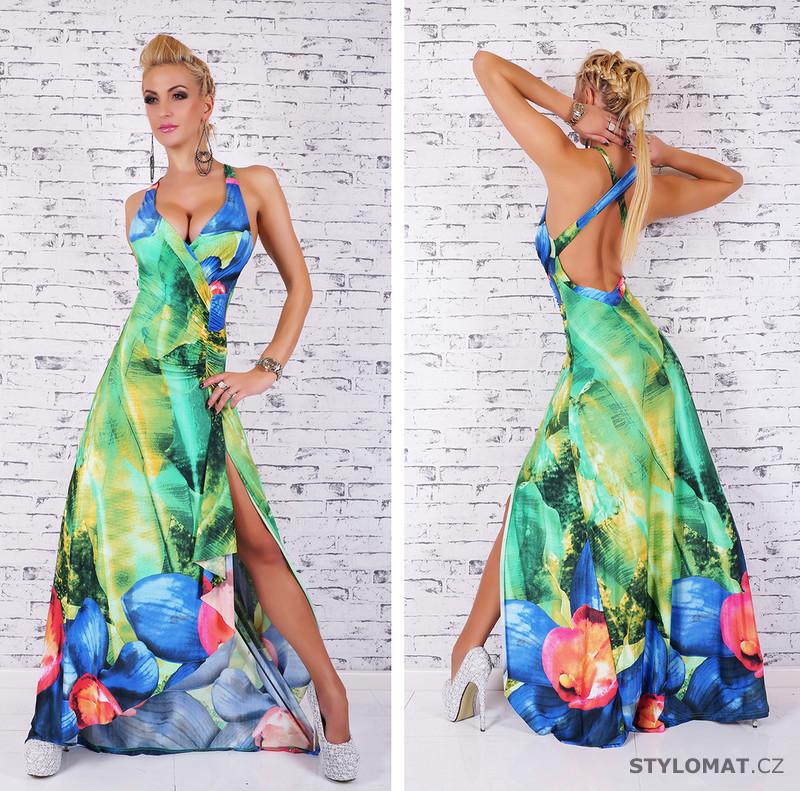 a1f8998c415 Dlouhé zelené letní šaty s maxi květy - EU - Dlouhé společenské šaty