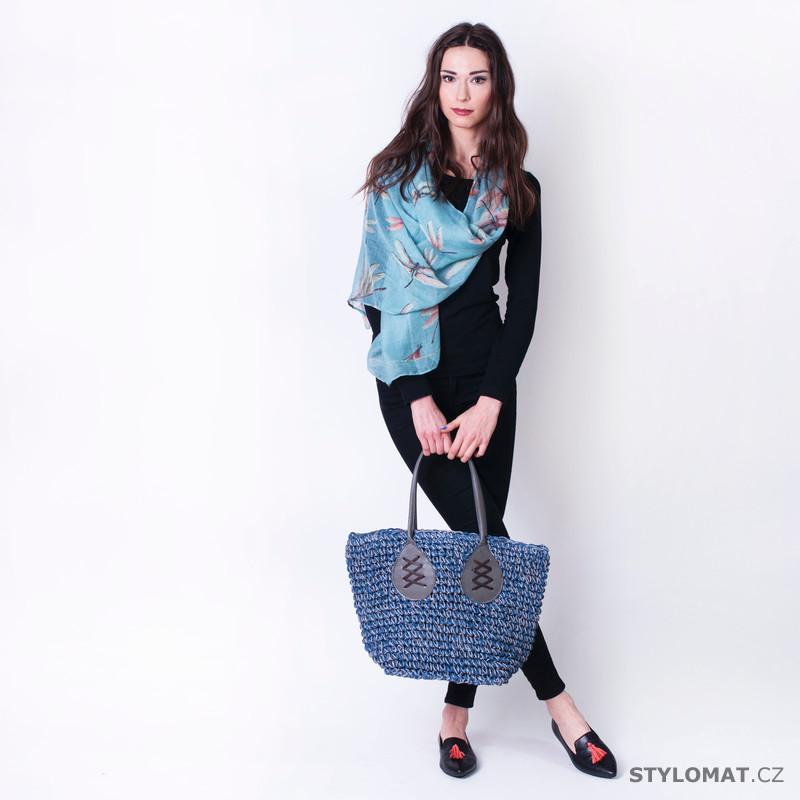 Modrý letní šál šátek s vážkami - Art of Polo - Dámské šály a šátky e068fd60b2