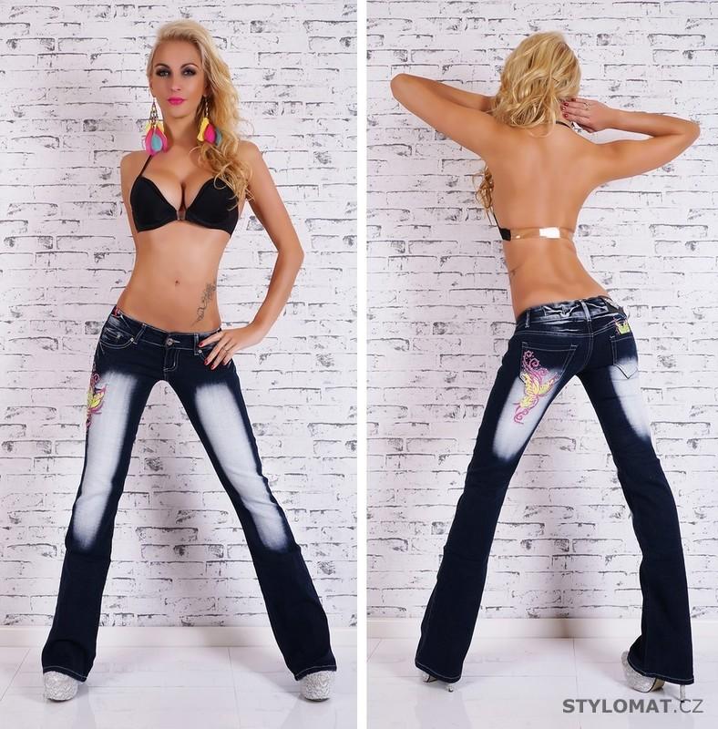 Dámské modré zvonové džíny s potiskem - Crazy Age - Jeansy cd0209c569